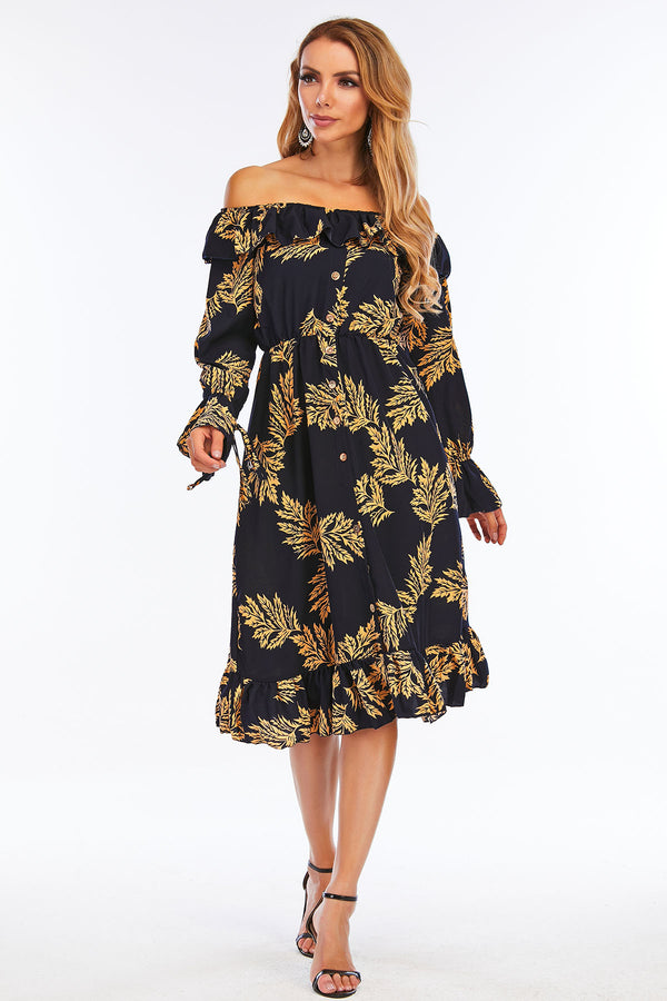 Mantra Pakistan Off Shoulder Printed Dress | Western Wear