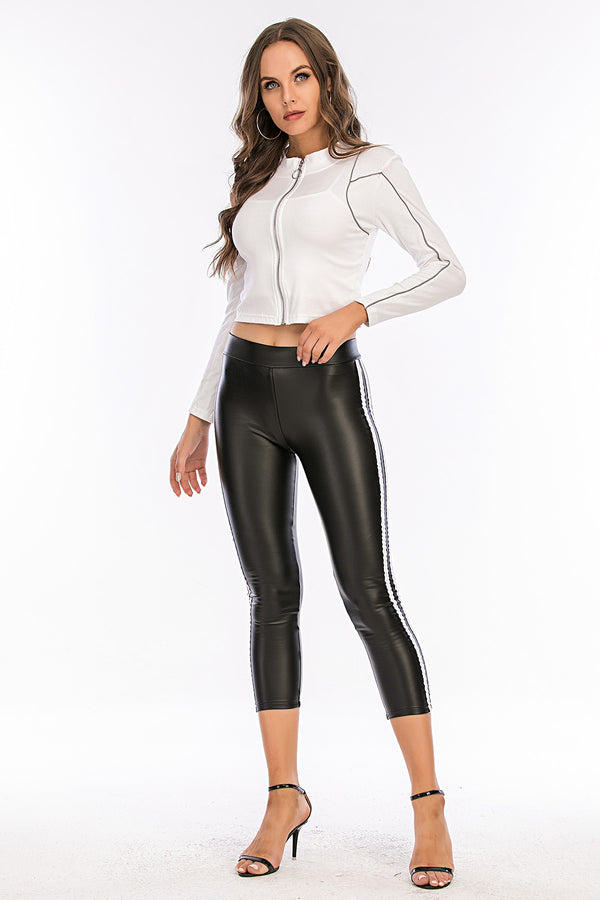 Mantra Pakistan Leather Leggings With Side Stripe | Western Wear