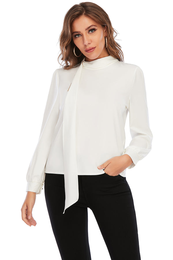 Mantra Pakistan WHITE TOP WITH A NECK TIE | Western Wear