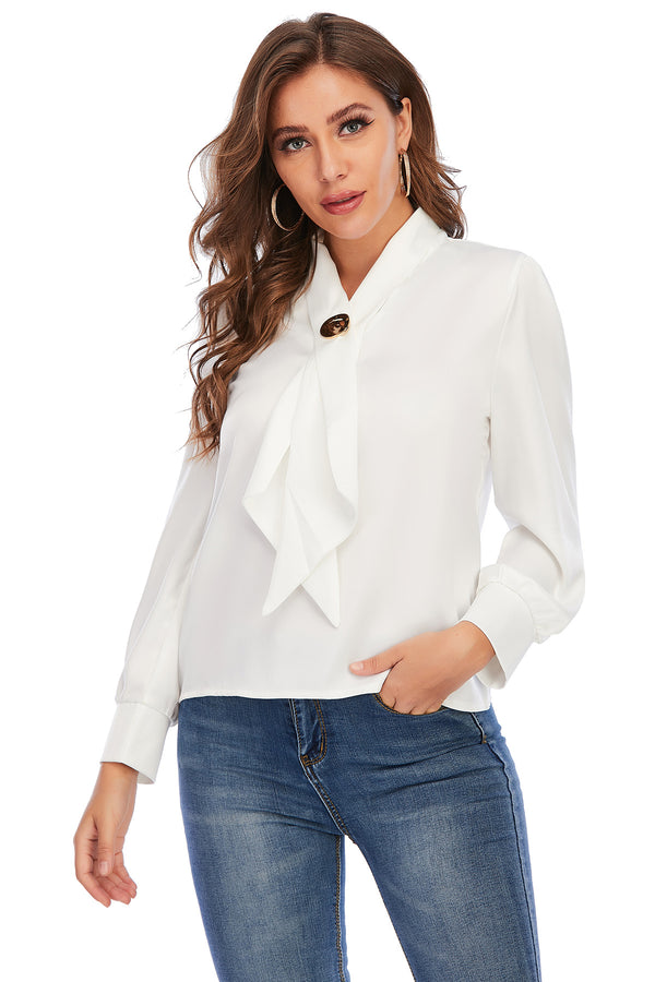 Mantra Pakistan WHITE TOP WITH A GOLDEN BROOCH | Western Wear