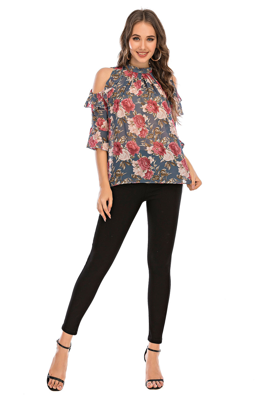 Mantra Pakistan Floral Cold Shoulder  Top | Western Wear