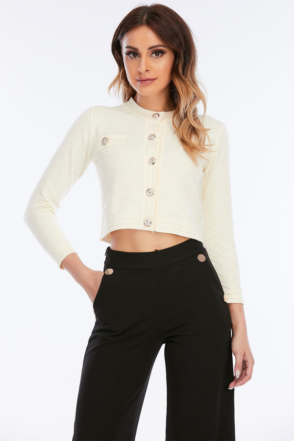 Mantra Pakistan Quilted Crop Sweater | Western Wear