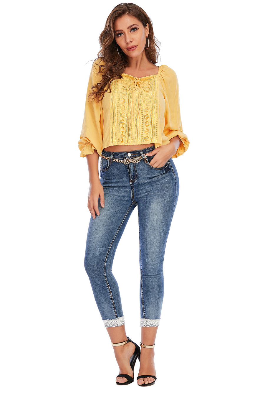 Mantra Pakistan YELLOW LACE UP TOP | Western Wear