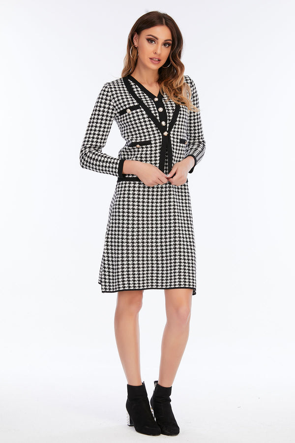 Mantra Pakistan Houndstooth Dress | Western Wear