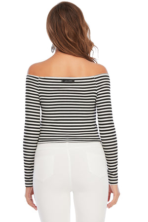Mantra Pakistan OFF SHOULDER STRIPE TOP | Western Wear