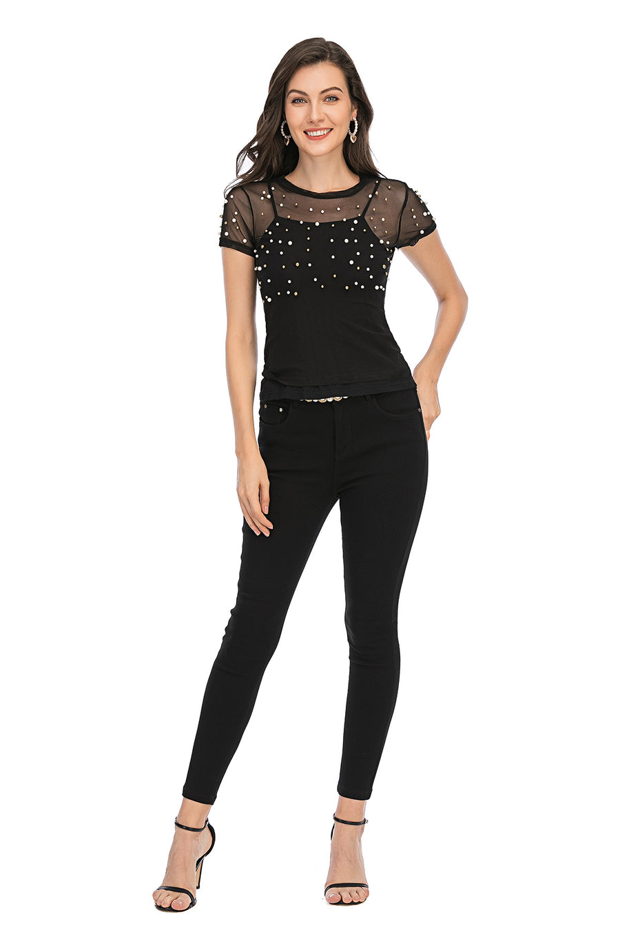 Mantra Pakistan Mesh top with pearls | Western Wear