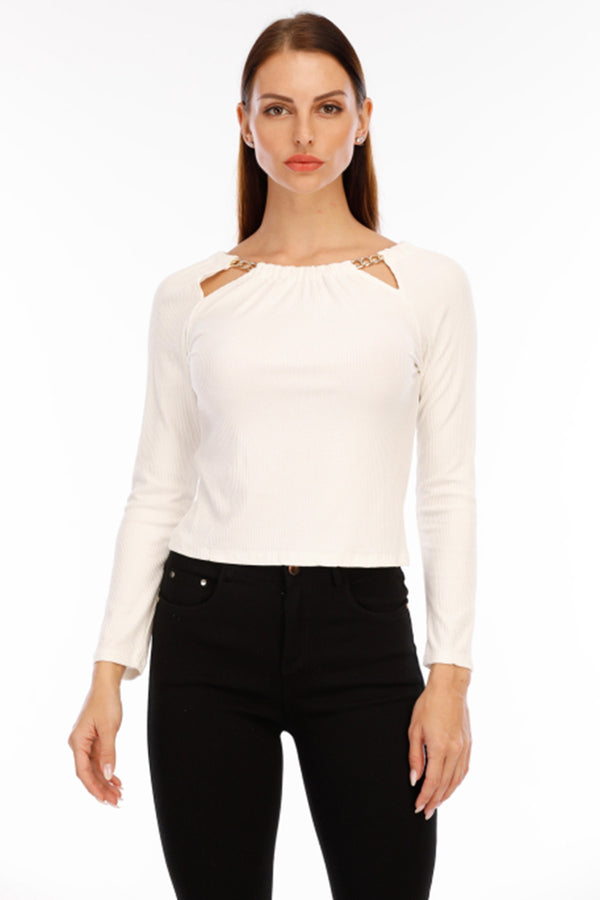 Mantra Pakistan WHITE TOP WITH NECK CHAIN | Western Wear