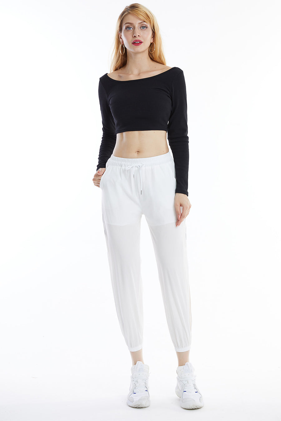 Long Sleeve Round Neck Crop Top