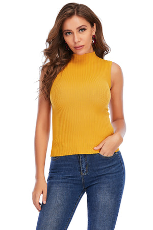 Mantra Pakistan SLEEVELESS TURTLE NECK RIBBED TOP | Western Wear