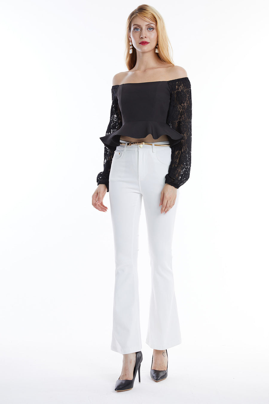 Boat Neck Top with Lace Sleeves