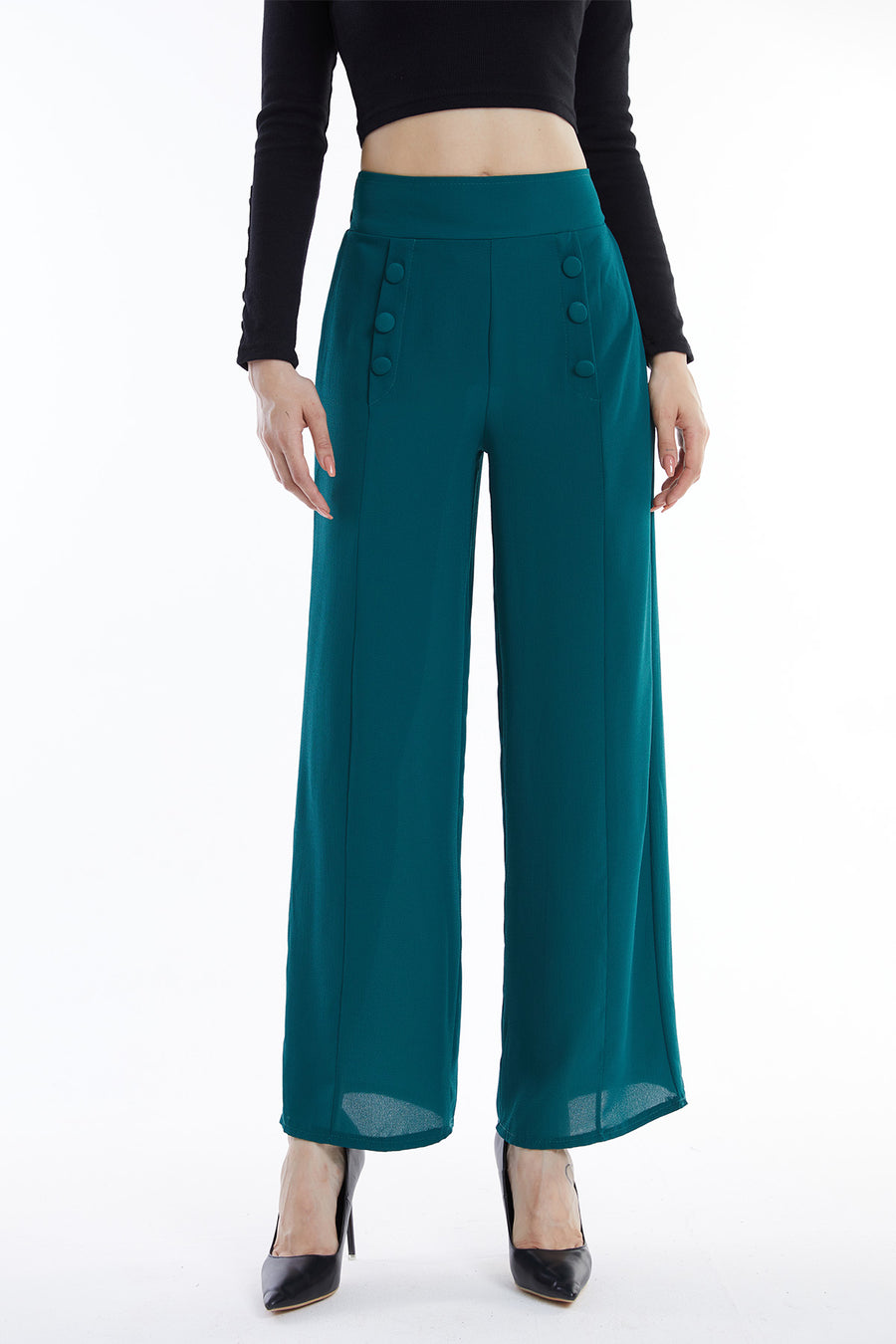 Mantra Pakistan Green Pants with Buttons | Western Wear