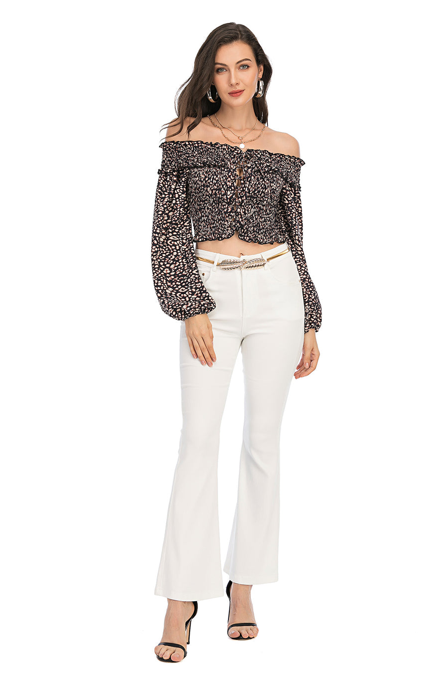 Mantra Pakistan Cheetah Print Lace Up Top | Western Wear