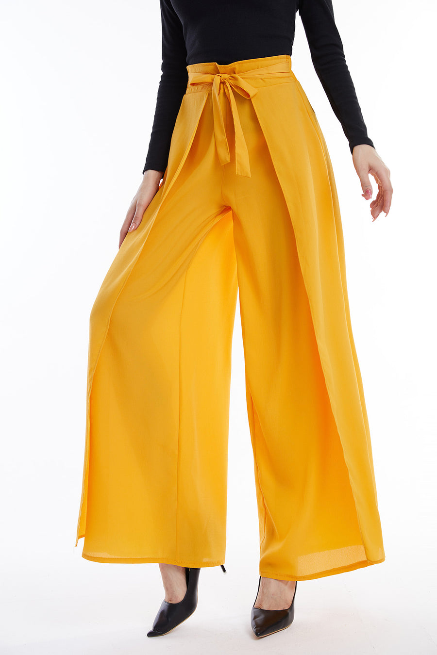 Mantra Pakistan Yellow Flowy Pants with  Belt | Western Wear