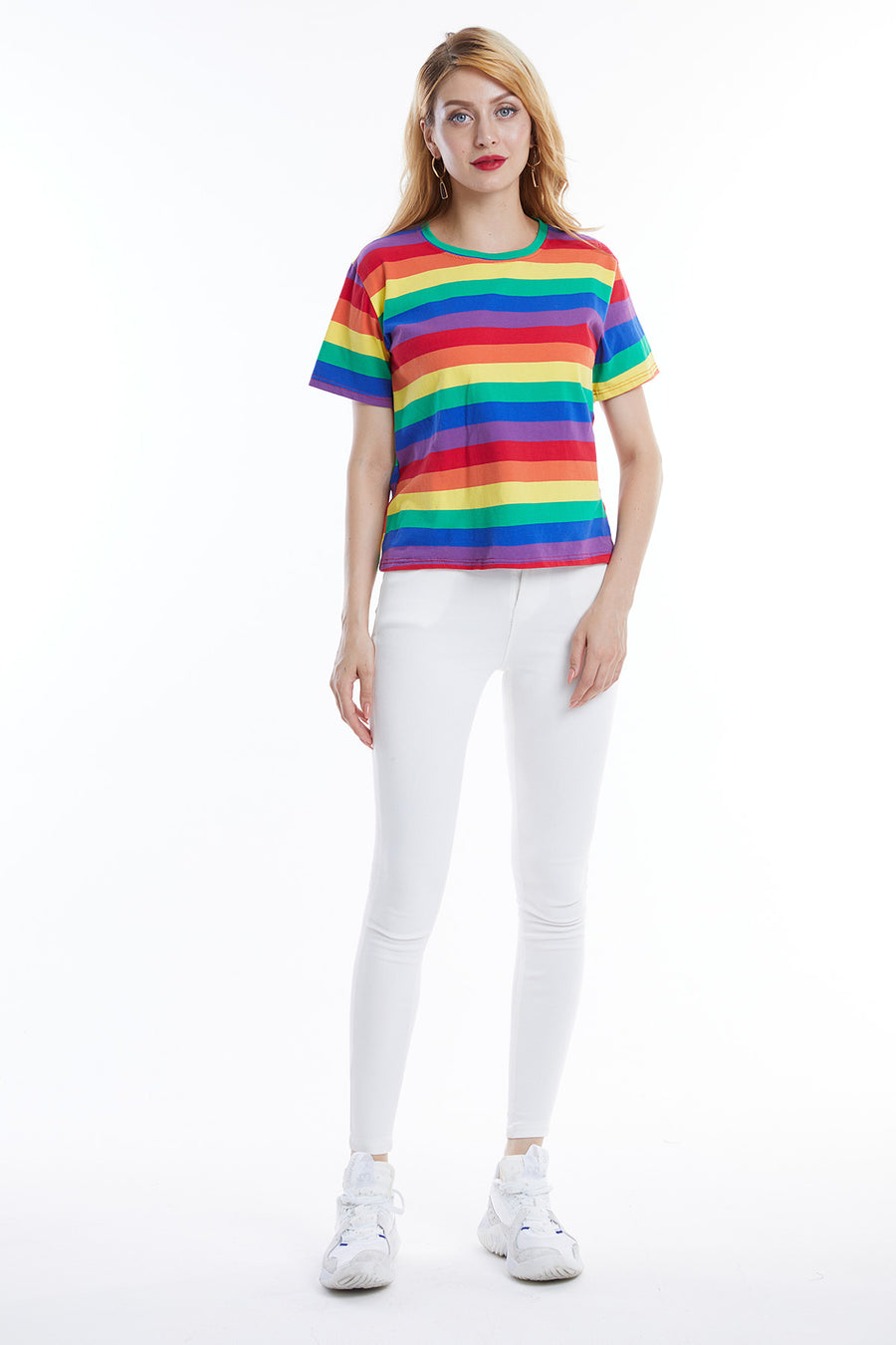 Mantra Pakistan Rainbow Stripe Tee | Western Wear
