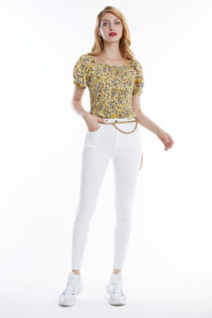 Mantra Pakistan Off Shoulder Floral Top | Western Wear