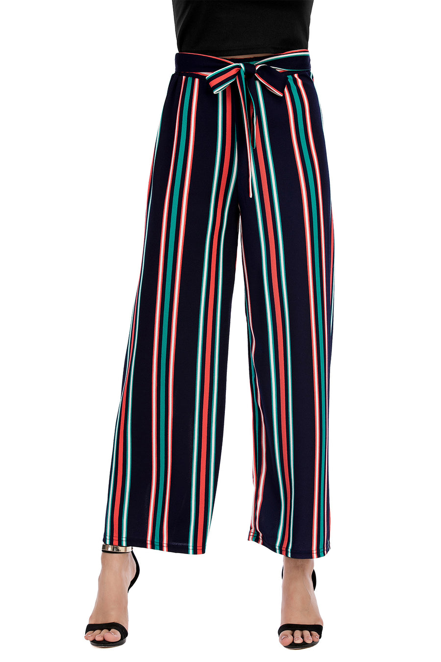 Blue Striped Trousers with Self Tie belt