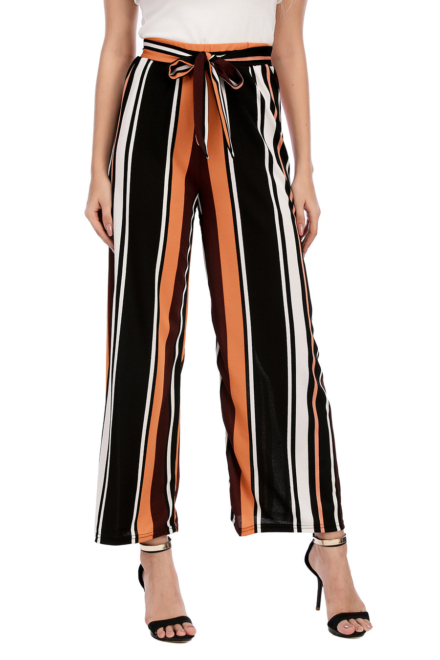 Striped Trousers with Self Tie belt