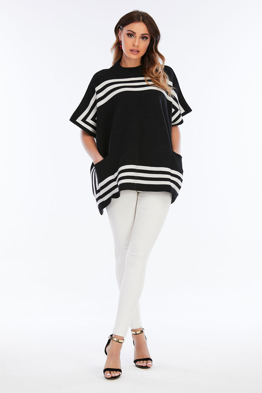 Mantra Pakistan Asymmetric Stripes Poncho | Western Wear
