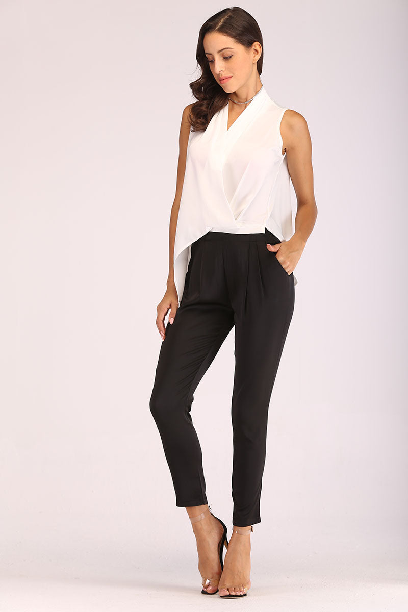 BLACK AND WHITE V NECK JUMPSUIT - Mantra Pakistan