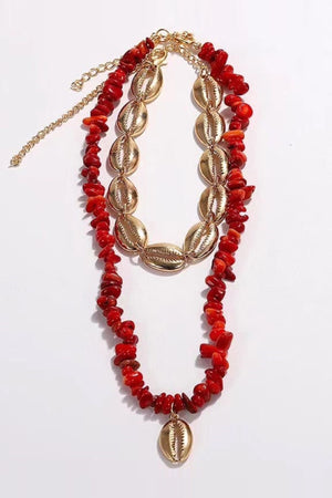 Double Layer Choker With Coral And Golden Shells - Mantra Pakistan