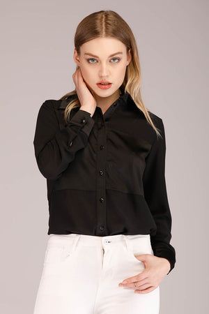 SOLID COLORED BUTTON DOWN SHIRT WITH SILK PANEL