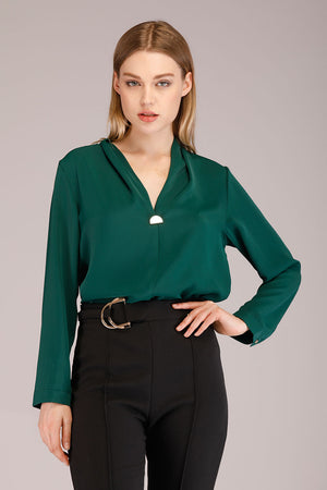 Mantra Pakistan SOLID COLORED TOP WITH METAL BROOCH | TOPS