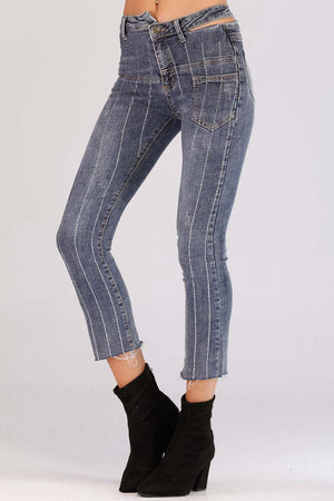ASYMMETRICAL WAIST BAND JEANS - Mantra Pakistan