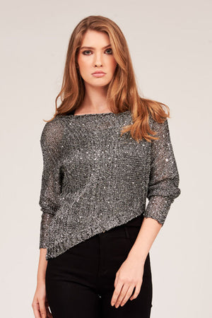 Mantra Pakistan SEQUIN ASYMMETRICAL SWEATER | OUTERWEAR