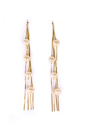 LONG DANGLING WITH PEARLS EARRINGS - Mantra Pakistan