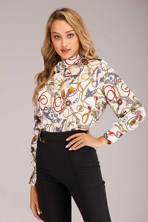TURTLE NECK PRINTED TOP