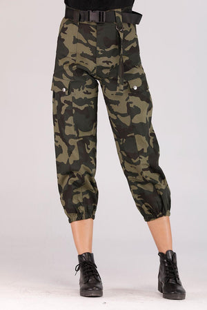 Mantra Pakistan CAMOUFLAGE PANTS WITH BELT | BOTTOMS