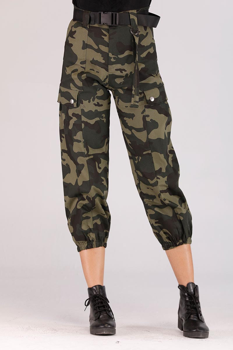 CAMOUFLAGE PANTS WITH BELT - Mantra Pakistan