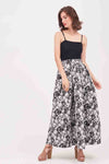 FLORAL PRINTED BLACK TUELLE SKIRT