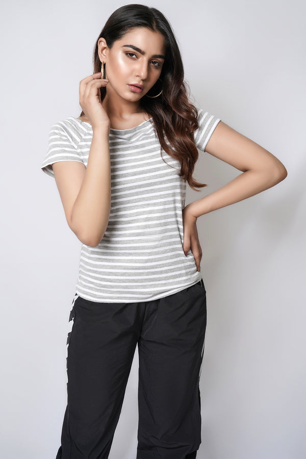Mantra Pakistan Off Shoulder Grey Stripe Tee | Western Wear
