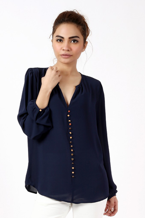 BLOUSE WITH GOLDEN BUTTONS - Mantra Pakistan