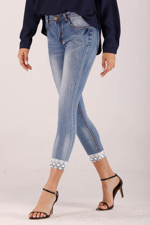 Mantra Pakistan LACE EMBROIDERED DENIM PANTS | BOTTOMS