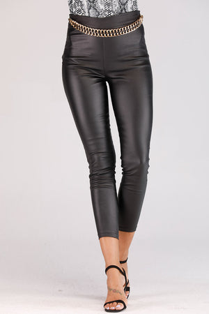 LEATHER JEGGINGS WITH CHAIN WAIST BAND - Mantra Pakistan