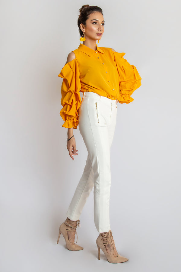 Mantra Pakistan Cold Shoulder Shirt | Western Wear