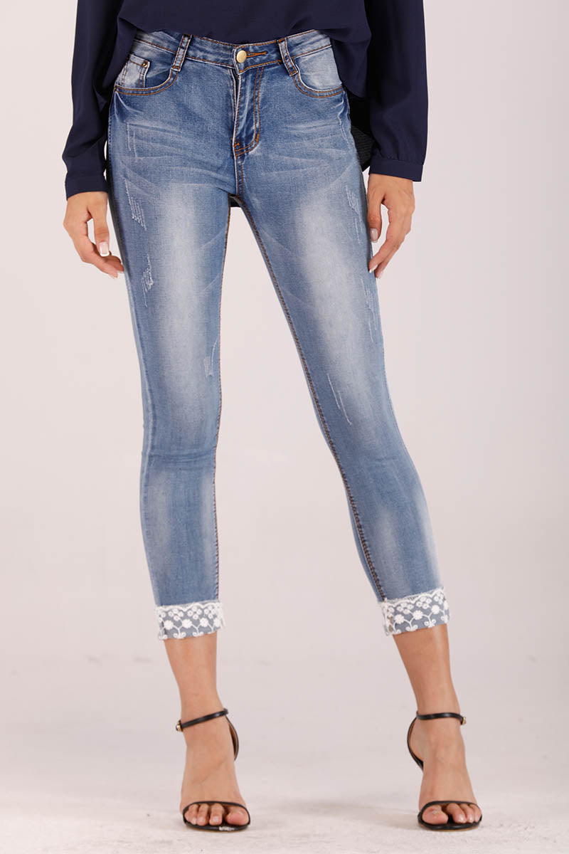 LACE EMBROIDERED DENIM PANTS