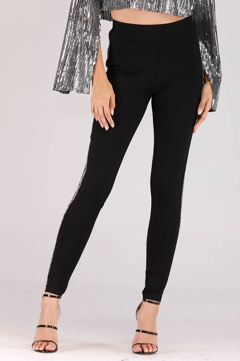 PANTS WITH SEQUIN SIDE STRIPE