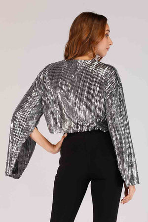 SHINY OPEN SLEEVES SEQUIN TOP