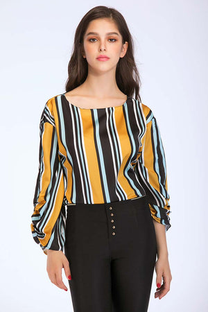 Mantra Pakistan STRIPED SACH TIE PEPLUM TOP | TOPS