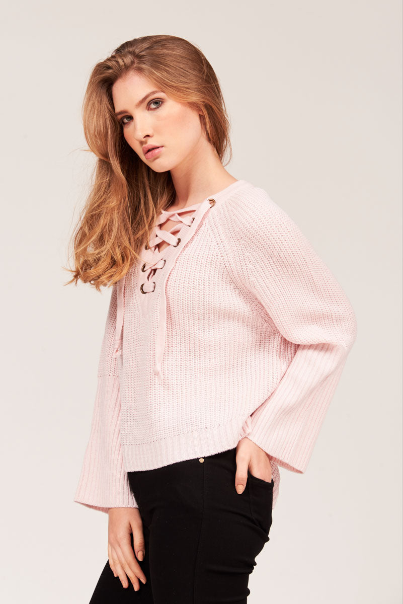 FLARED SLEEVES COTTON SWEATER