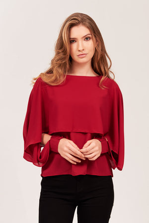 Mantra Pakistan SOLID OVERLAY CHIFFON BLOUSE | TOPS