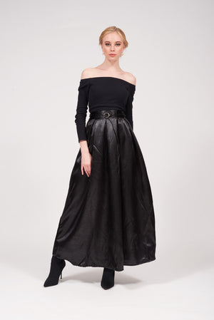 Mantra Pakistan GLOSSY BLACK LONG SKIRT | BOTTOMS