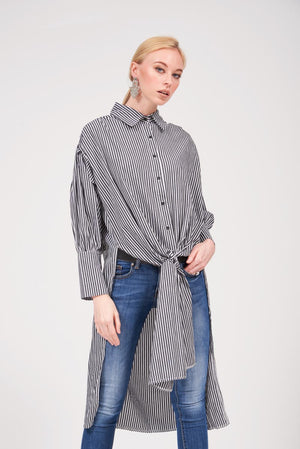 Mantra Pakistan STRIPED LONG SHIRT WITH SASH TIE | TOPS