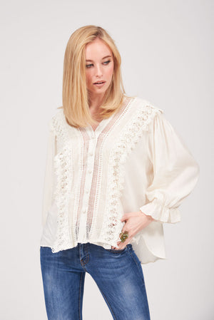 Mantra Pakistan LACE EMBROIDERED TOP | TOPS