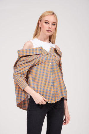 Mantra Pakistan OFF-SHOULDER CHECKERED TOP | TOPS