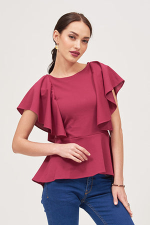 Mantra Pakistan DRAPED SLEEVES TOP | TOPS