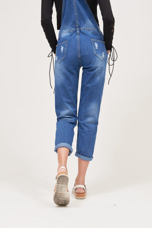 RIPPED DENIM OVERALL / DUNGAREE